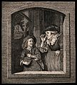 A boy plays his 'rommelpot' to an old woman who peers over h Wellcome V0015835.jpg