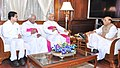 A delegation from Catholic Bishops' Conference of India (CBCI) led by Archbishop of Agra & Secretary General of CBCI, Shri Albert D'Souza calling on the Union Home Minister, Shri Rajnath Singh, in New Delhi on April 13, 2015.jpg