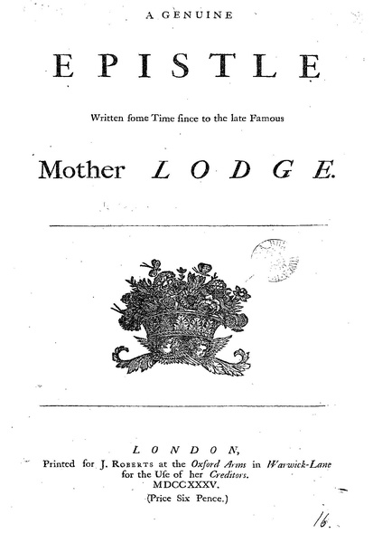 File:A genuine epistle written some time since to the late famous Mother Lodge.pdf