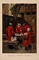 A group of Chelsea Pensioners disputing in the Hall at the R Wellcome V0012949.jpg