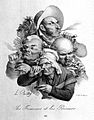 A group of five heads; three men smoking pipes and a cigar a Wellcome L0006573.jpg