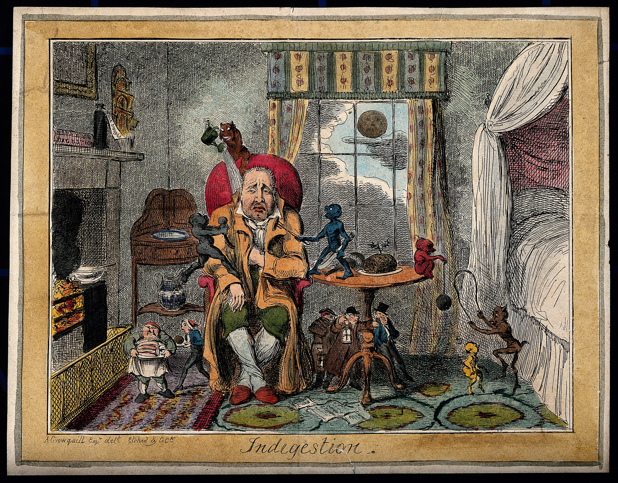 A man suffering from indigestion; suggested by little charac Wellcome V0010877