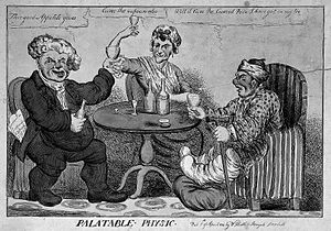A man with gout seated at a table drinking with a parson Wellcome L0006236.jpg