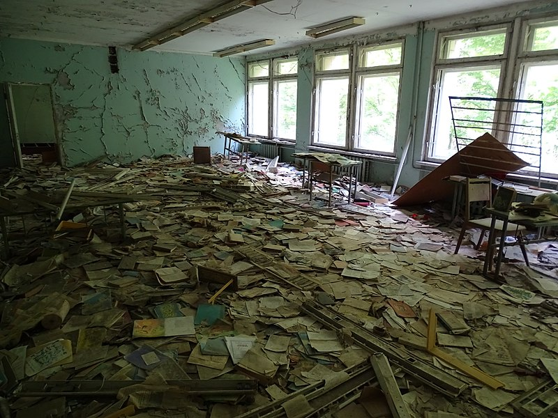 File:Abandoned Schoolhouse - Pripyat Ghost Town - Chernobyl Exclusion Zone - Northern Ukraine - 08 (27099339605).jpg