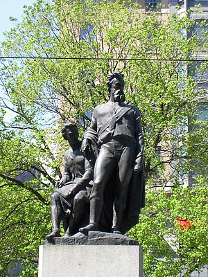 William John Wills - Burke and Wills Statue by Charles Summers on the corner of Collins and Swanston Streets, Melbourne.