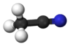 Pilko- kaj bastonmodelo de acetonitrile