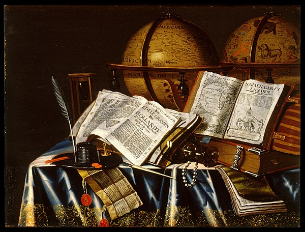 "This painting represents the Dutch ""Vanitas"" (Latin for vanity) by Adam Bernaert,[1] The Walters Art Museum."