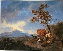 Adriaen van der Cabel: Mountain Landscape with Cattle and Herdsman