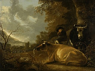 Landscape with cows and young herdsman