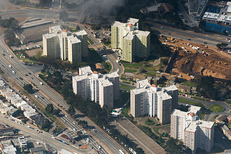 Parkmerced, San Francisco - Aerial view of several Parkmerced high-rise apartment buildings, showing their distinctive shape