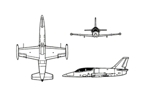 Orthographically projected diagram of the Aero L-39 Albatros.
