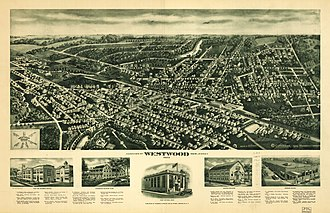 Westwood, New Jersey - Panoramic map of Westwood from 1924 with list of landmarks and images of several inset