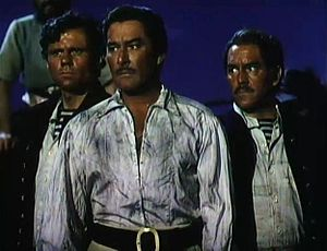 John Alderson (actor) - L-R: John Alderson, Errol Flynn and Phil Tully in Against All Flags (1952)