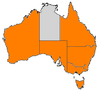 Australian States and Terrirtories with operating squadrons are highlighted orange