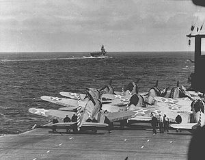 Richard Halsey Best - SBD-2's on the Enterprise, April, 1942, Hornet in the background