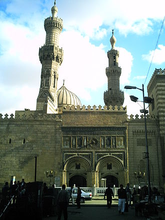 Al-Azhar Mosque - Bab al-Muzayinīn, built by Abd al-Rahman Katkhuda during Ottoman rule. The minaret on the left, atop the Madrasa Aqbaghawiyya, was also remodeled by Katkhuda