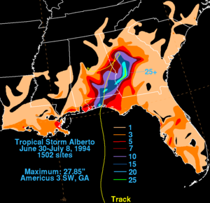 Tropical Storm Alberto (1994) - Rainfall associated with Tropical Storm Alberto