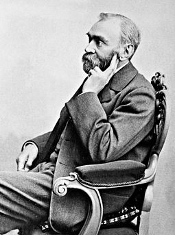 Alfred Nobel had the unpleasant surprise of reading his own obituary, which was titled The merchant of death is dead, in a French newspaper. AlfredNobel adjusted.jpg