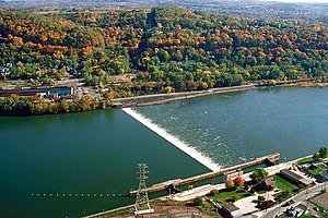 Natrona, Pennsylvania - The Lock and Dam Number Four spans the Allegheny River between Natrona in Harrison Township (below) and Lower Burrell (above).
