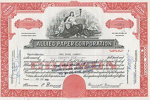 Allied Paper Corporation - Allied Paper Corporation Stock Certificate issued in 1964