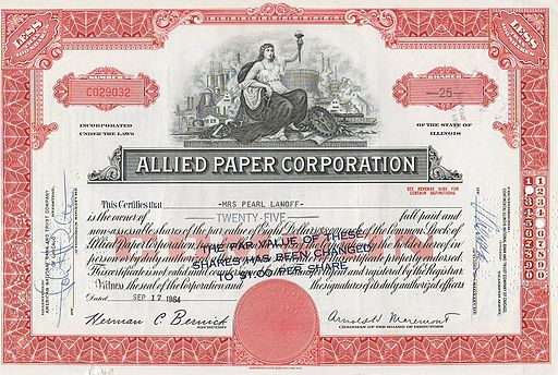 Allied Paper Corporation Stock Certificate 1964
