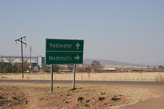 Mokolo River - Road sign outside Laerskool Alma, close to the confluence that marks the beginning of the Mokolo River