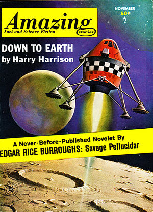 "Harry Harrison (writer) - Harrison's novelette ""Down to Earth"" took the cover of the November 1963 issue of Amazing Stories"