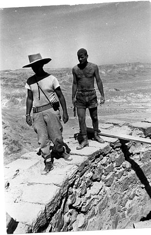 Amir Drori - Amir Drori with Yigael Yadin at Masada, 1963
