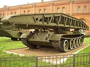 An MTU tracked bridge layer with bridge element in Military-historical Museum of Artillery, Engineer and Signal Corps in Saint-Petersburg, Russia
