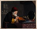 An alchemist at his furnace, hunched over bellows. Coloured Wellcome V0025547.jpg