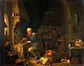 An alchemist seated at a furnace, turning away in thought. O Wellcome V0017664.jpg