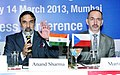 Anand Sharma and the Czech Republic Minister for Trade & Industry, Mr. Martin Kuba at the joint press conference after the inauguration of the India Engineering Sourcing Show, 2013, in Mumbai on March 14, 2013.jpg