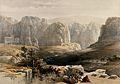Ancient city of Petra, looking south. Coloured lithograph by Wellcome V0049439.jpg