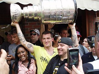 Andrew Ference - Ference during the North End Stanley Cup parade in 2011.