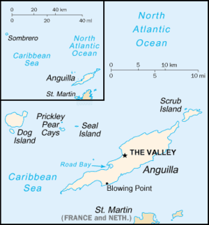 Scrub Island, Anguilla - Map of Anguilla; Scrub Island lies off the north-eastern tip of the main island