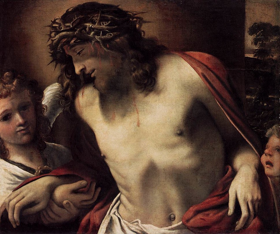 Annibale Carracci - Christ Wearing the Crown of Thorns, Supported by Angels - WGA04427