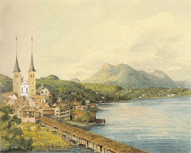 English: View at Lucerne, water color by Felix...