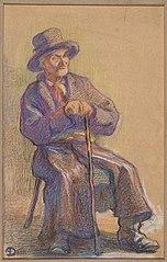 Siedzący chłop; Rysunek kolorowy (szkic chłopa); Szkic rysunkowy