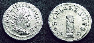 "Roman consul - An antoninianus commemorating the third consulate (""COS III"") of the emperor Philip (248 AD)."
