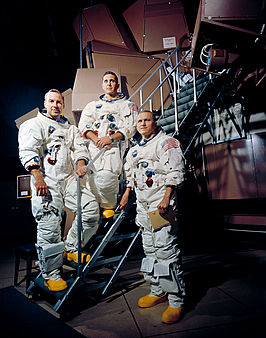 Bemanning Apollo 8 (L-R: Lovell, Anders en Borman)