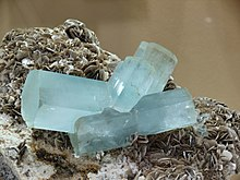 Aquamarine crystals on muscovite