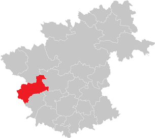 Location of the municipality of Arbesbach in the Zwettl district (clickable map)