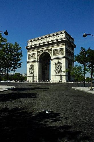 Historical quarters of Paris - The Arc de Triomphe seen from the Avenue de Friedland.