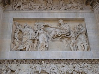 Porta Sempione - The Foundation of the Kingdom of Lombardy-Venetia, bas-relief by Pompeo Marchesi, on the right-hand side of the Arch of Peace