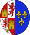 Arms of Elisabeth of France (1545-1568) and Elisabeth of France (1602–1644), Queens consort of Spain.png