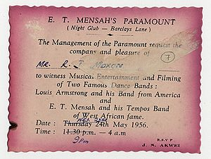 "Highlife - An invitation to a concert featuring Louis Armstrong ""from America"" and E. T. Mensah and his Tempos Band ""of West African Fame"""