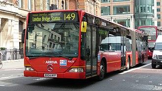 London Buses route 149 - Arriva London Mercedes-Benz O530G on Bishopsgate in June 2009