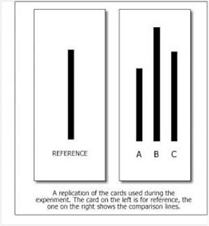 Compliance (psychology) - An example of the line test given to experiment participants.