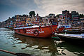 Assembly of boats in Dasashwamedh Ghat in the evening before Arati, Varanasi 02.jpg