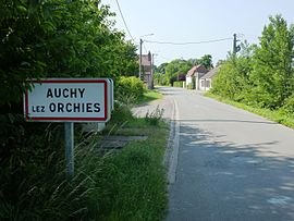 Auchy-lez-Orchies (Nord, Fr) city limit sign.JPG